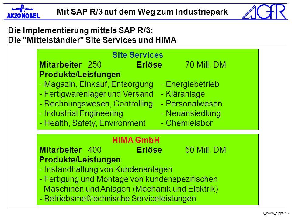 Mit SAP R/3 auf dem Weg zum Industriepark r_koch_d.ppt / 15 Die Implementierung mittels SAP R/3: Die