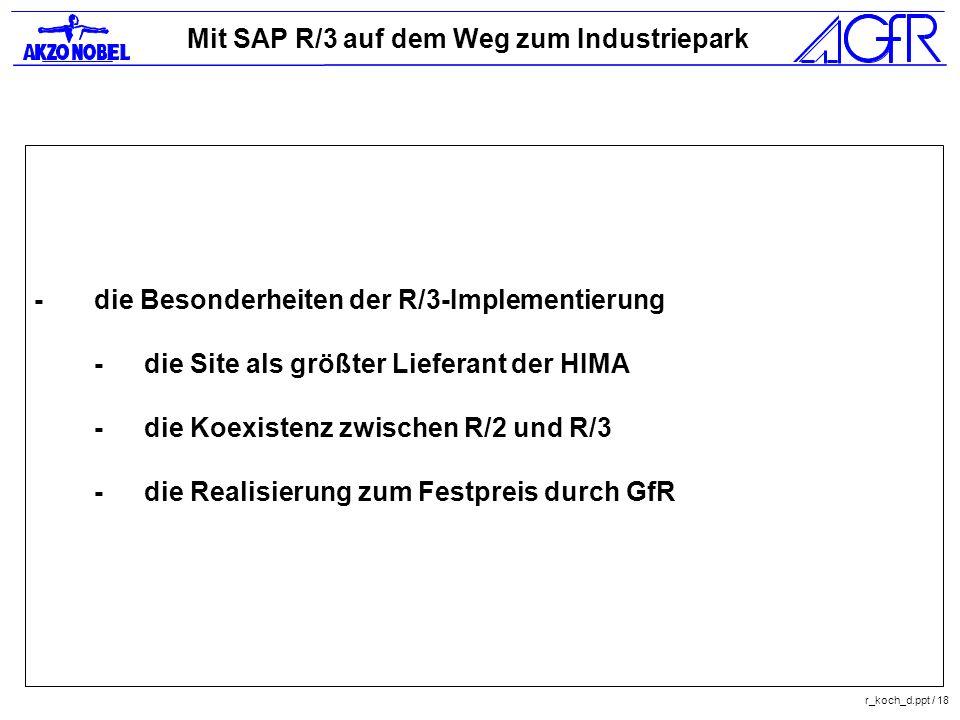 Mit SAP R/3 auf dem Weg zum Industriepark r_koch_d.ppt / 18 -die Besonderheiten der R/3-Implementierung -die Site als größter Lieferant der HIMA -die