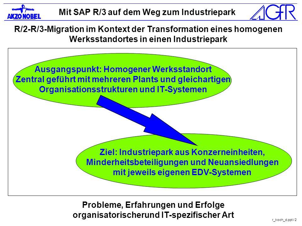 Mit SAP R/3 auf dem Weg zum Industriepark r_koch_d.ppt / 2 R/2-R/3-Migration im Kontext der Transformation eines homogenen Werksstandortes in einen In