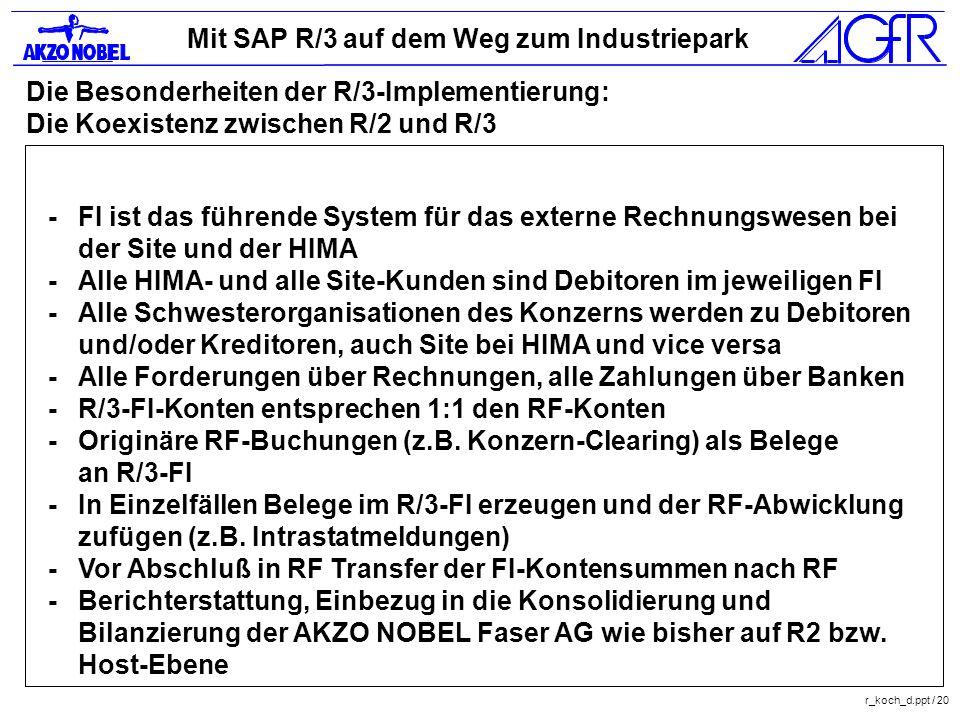 Mit SAP R/3 auf dem Weg zum Industriepark r_koch_d.ppt / 20 Die Besonderheiten der R/3-Implementierung: Die Koexistenz zwischen R/2 und R/3 -FI ist da