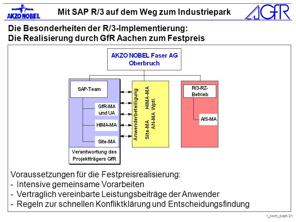 Mit SAP R/3 auf dem Weg zum Industriepark r_koch_d.ppt / 21 Die Besonderheiten der R/3-Implementierung: Die Realisierung durch GfR Aachen zum Festprei