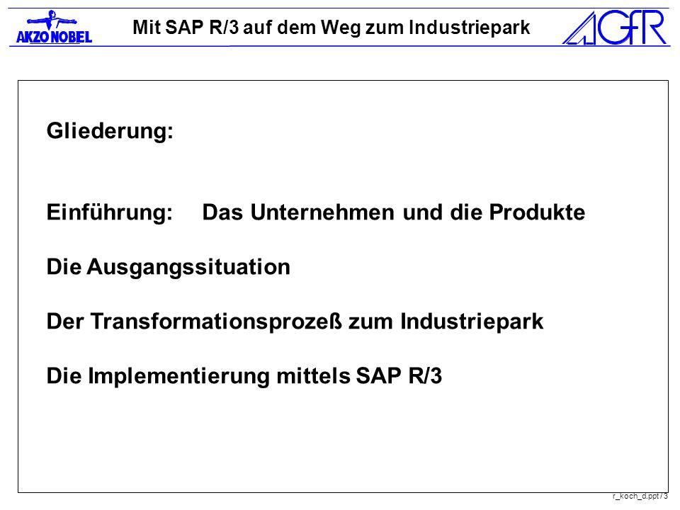 Mit SAP R/3 auf dem Weg zum Industriepark r_koch_d.ppt / 3 Gliederung: Einführung:Das Unternehmen und die Produkte Die Ausgangssituation Der Transform