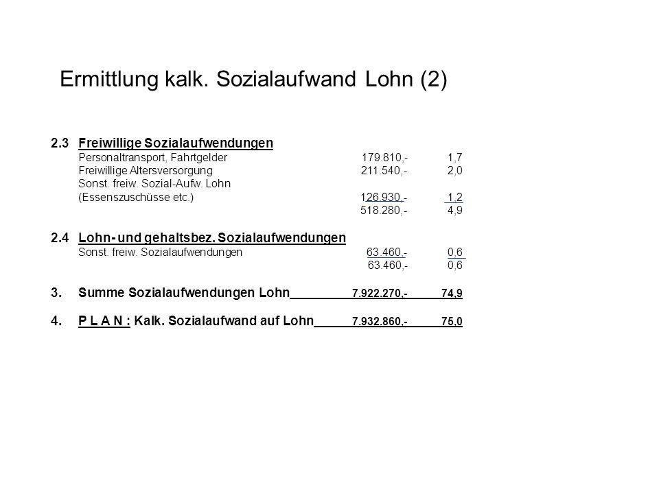 2.3Freiwillige Sozialaufwendungen Personaltransport, Fahrtgelder179.810,- 1,7 Freiwillige Altersversorgung 211.540,- 2,0 Sonst. freiw. Sozial-Aufw. Lo
