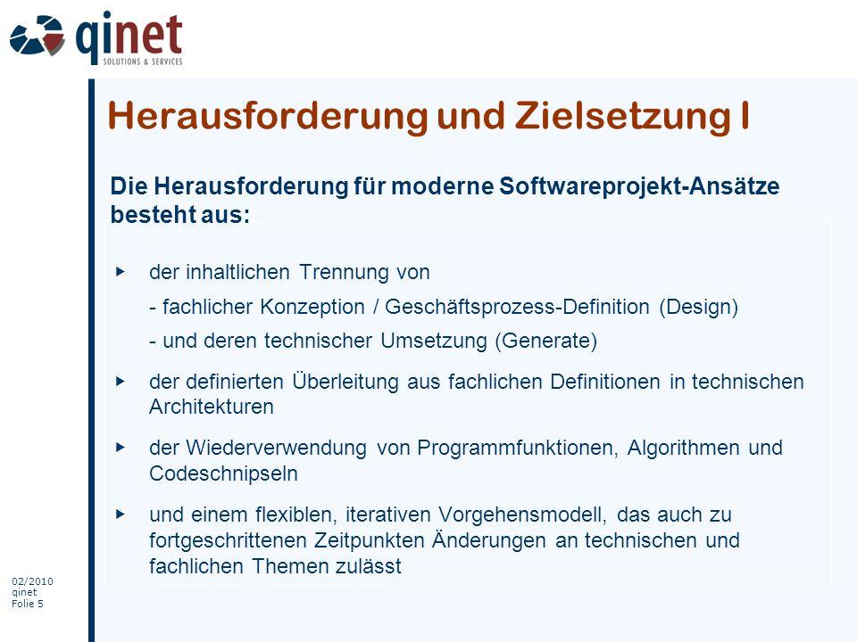 02/2010 qinet Folie 6 Der von SW-ProEngine GmbH verwendete Verfahrensweg löst diese Aufgabenstellungen, durch eine Zusammenführung von Design & Generate bei der Projektrealisierung –in einem ganzheitlichen Verfahrensweg –mit einer iterativen Vorgehensweise Die Zielsetzung ist: Verbesserung von Qualität, Geschwindigkeit und Flexibilität sowie Reduzierung der Kosten Herausforderung und Zielsetzung II