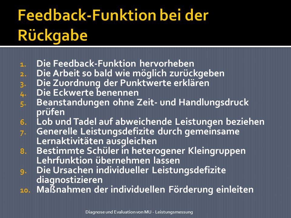 1. Die Feedback-Funktion hervorheben 2. Die Arbeit so bald wie möglich zurückgeben 3. Die Zuordnung der Punktwerte erklären 4. Die Eckwerte benennen 5