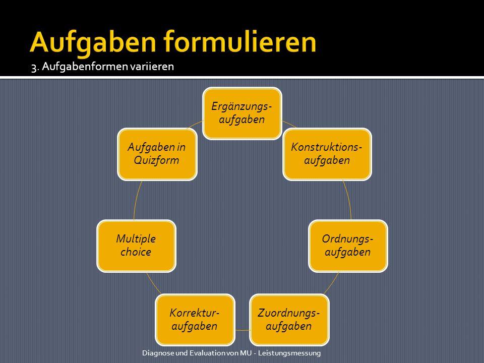 Ergänzungs- aufgaben Konstruktions- aufgaben Ordnungs- aufgaben Zuordnungs- aufgaben Korrektur- aufgaben Multiple choice Aufgaben in Quizform Diagnose