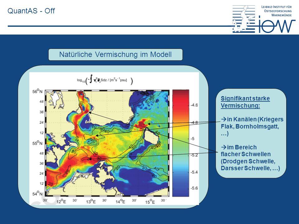 QuantAS - Off Natürliche Vermischung im Modell Signifikant starke Vermischung: in Kanälen (Kriegers Flak, Bornholmsgatt, …) im Bereich flacher Schwell