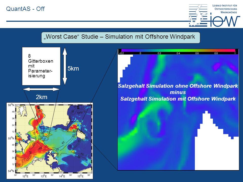QuantAS - Off 5km 2km 8 Gitterboxen mit Parameter- isierung Salzgehalt Simulation ohne Offshore Windpark minus Salzgehalt Simulation mit Offshore Wind
