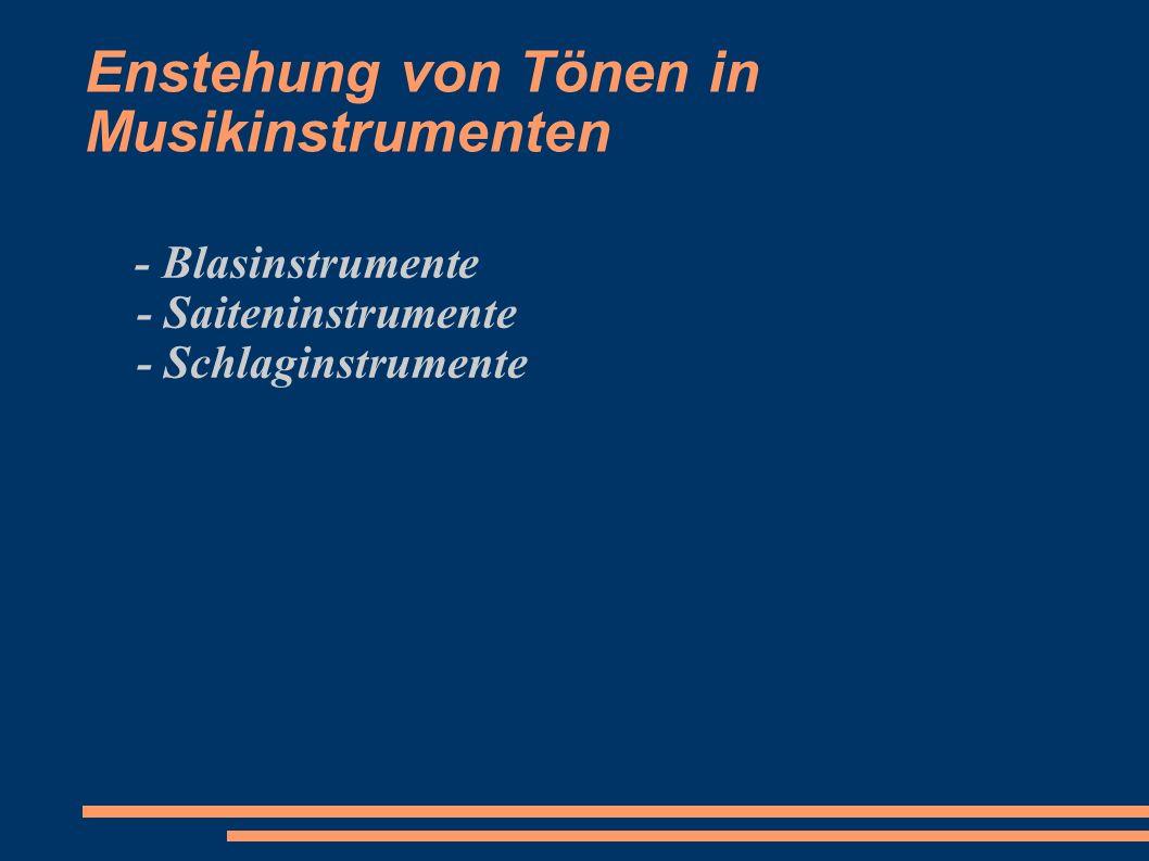 Enstehung von Tönen in Musikinstrumenten - Blasinstrumente - Saiteninstrumente - Schlaginstrumente