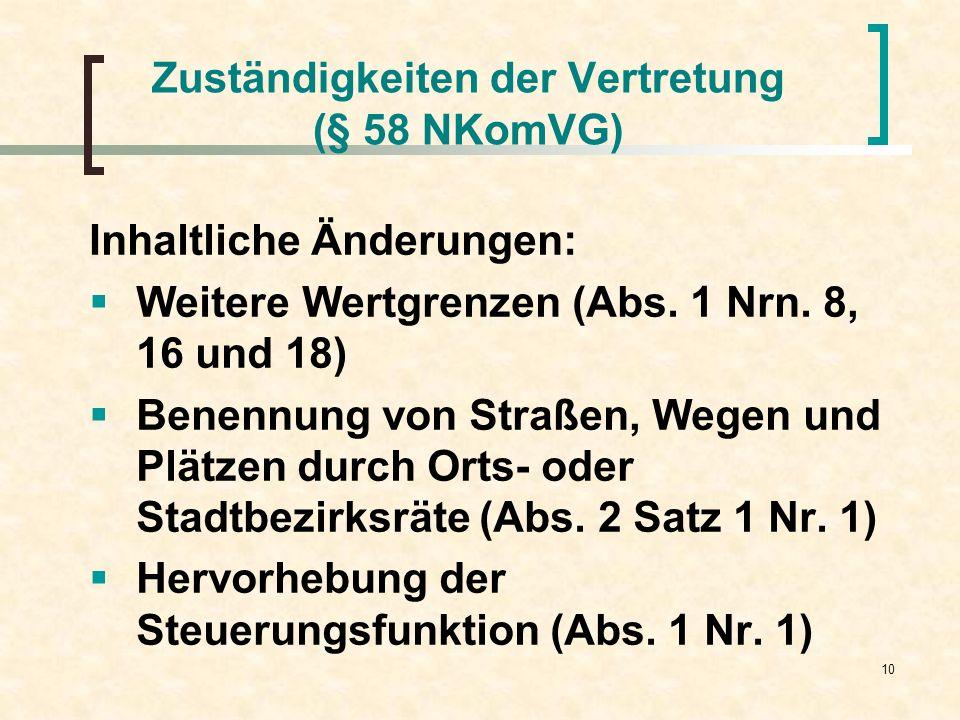 10 Zuständigkeiten der Vertretung (§ 58 NKomVG) Inhaltliche Änderungen: Weitere Wertgrenzen (Abs. 1 Nrn. 8, 16 und 18) Benennung von Straßen, Wegen un