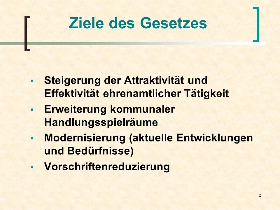2 Ziele des Gesetzes Steigerung der Attraktivität und Effektivität ehrenamtlicher Tätigkeit Erweiterung kommunaler Handlungsspielräume Modernisierung