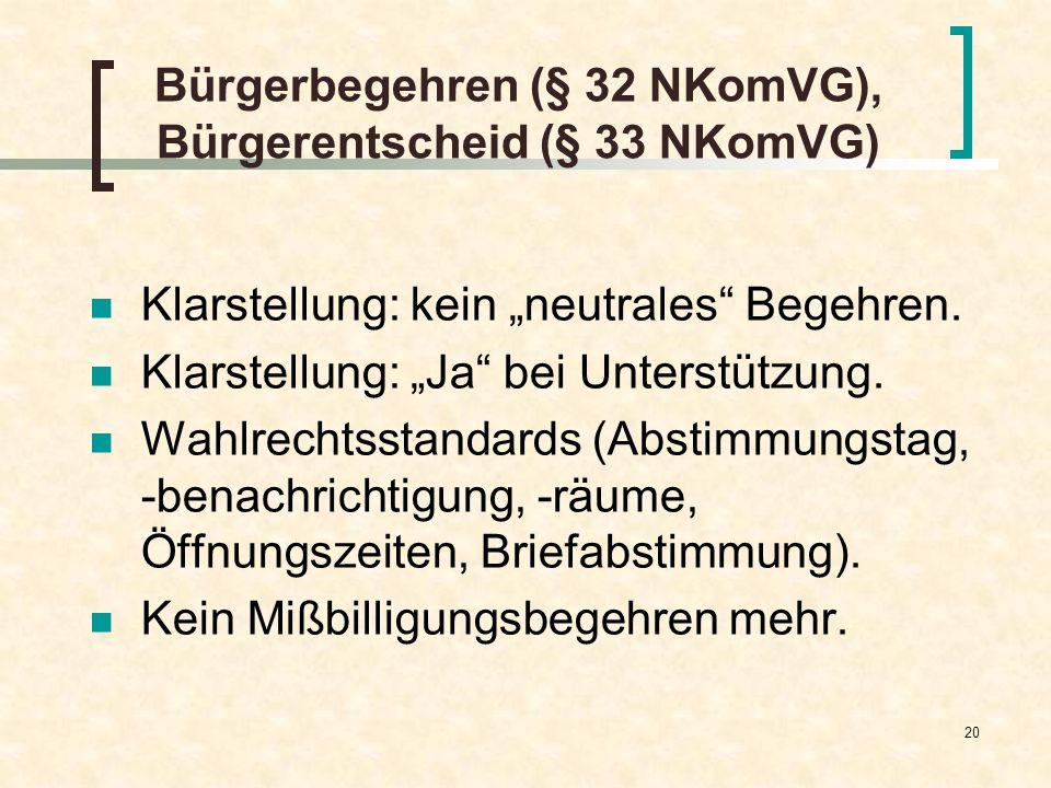 20 Bürgerbegehren (§ 32 NKomVG), Bürgerentscheid (§ 33 NKomVG) Klarstellung: kein neutrales Begehren. Klarstellung: Ja bei Unterstützung. Wahlrechtsst