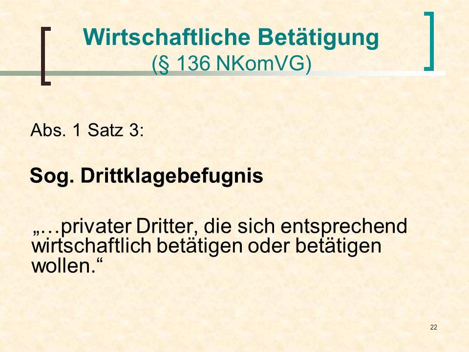 22 Wirtschaftliche Betätigung (§ 136 NKomVG) Abs. 1 Satz 3: Sog. Drittklagebefugnis …privater Dritter, die sich entsprechend wirtschaftlich betätigen