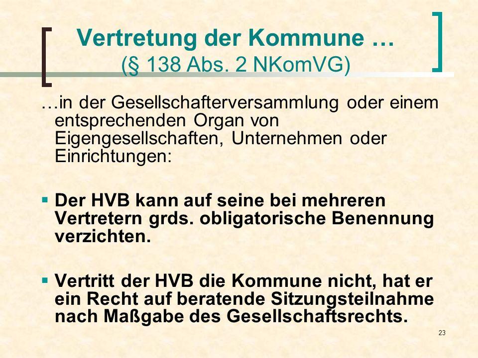 23 Vertretung der Kommune … (§ 138 Abs. 2 NKomVG) …in der Gesellschafterversammlung oder einem entsprechenden Organ von Eigengesellschaften, Unternehm