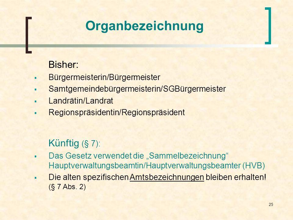 25 Organbezeichnung Bisher: Bürgermeisterin/Bürgermeister Samtgemeindebürgermeisterin/SGBürgermeister Landrätin/Landrat Regionspräsidentin/Regionspräs
