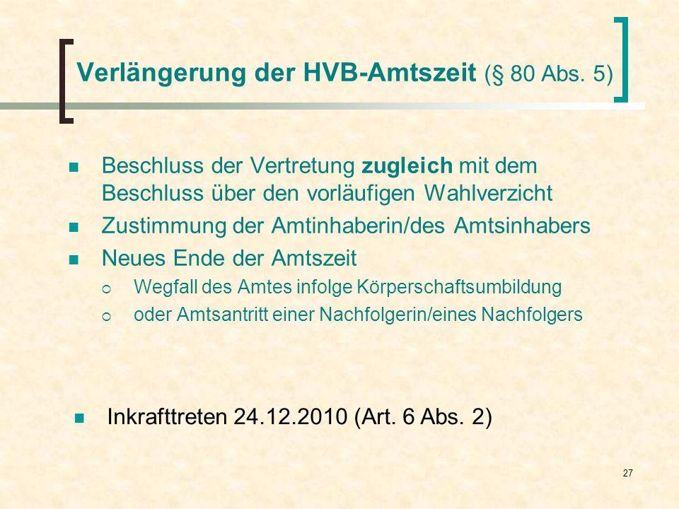 27 Verlängerung der HVB-Amtszeit (§ 80 Abs. 5) Beschluss der Vertretung zugleich mit dem Beschluss über den vorläufigen Wahlverzicht Zustimmung der Am