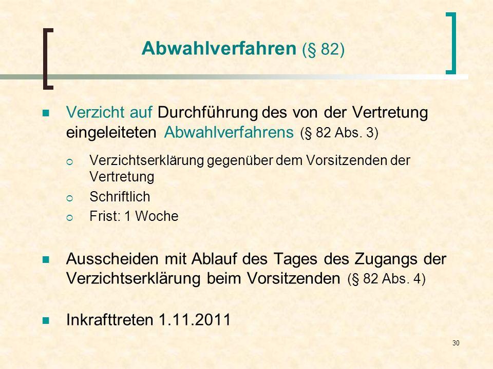 30 Abwahlverfahren (§ 82) Verzicht auf Durchführung des von der Vertretung eingeleiteten Abwahlverfahrens (§ 82 Abs. 3) Verzichtserklärung gegenüber d