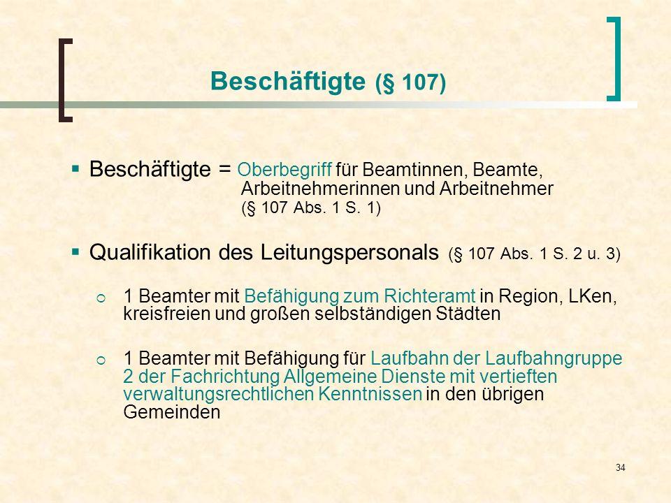 34 Beschäftigte (§ 107) Beschäftigte = Oberbegriff für Beamtinnen, Beamte, Arbeitnehmerinnen und Arbeitnehmer (§ 107 Abs. 1 S. 1) Qualifikation des Le