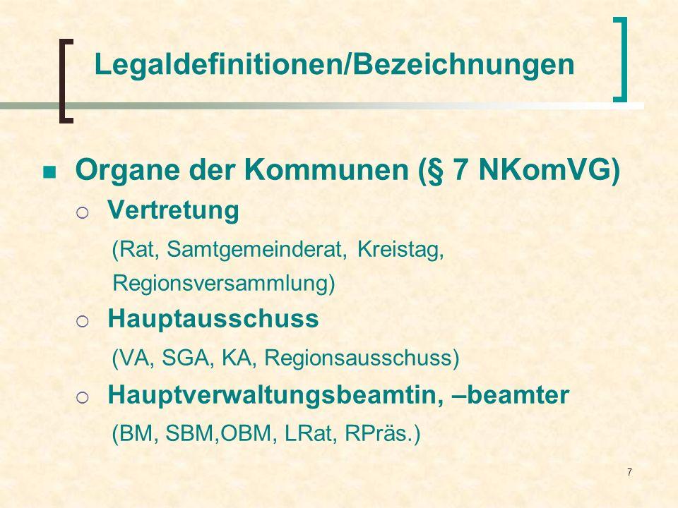 7 Legaldefinitionen/Bezeichnungen Organe der Kommunen (§ 7 NKomVG) Vertretung (Rat, Samtgemeinderat, Kreistag, Regionsversammlung) Hauptausschuss (VA,