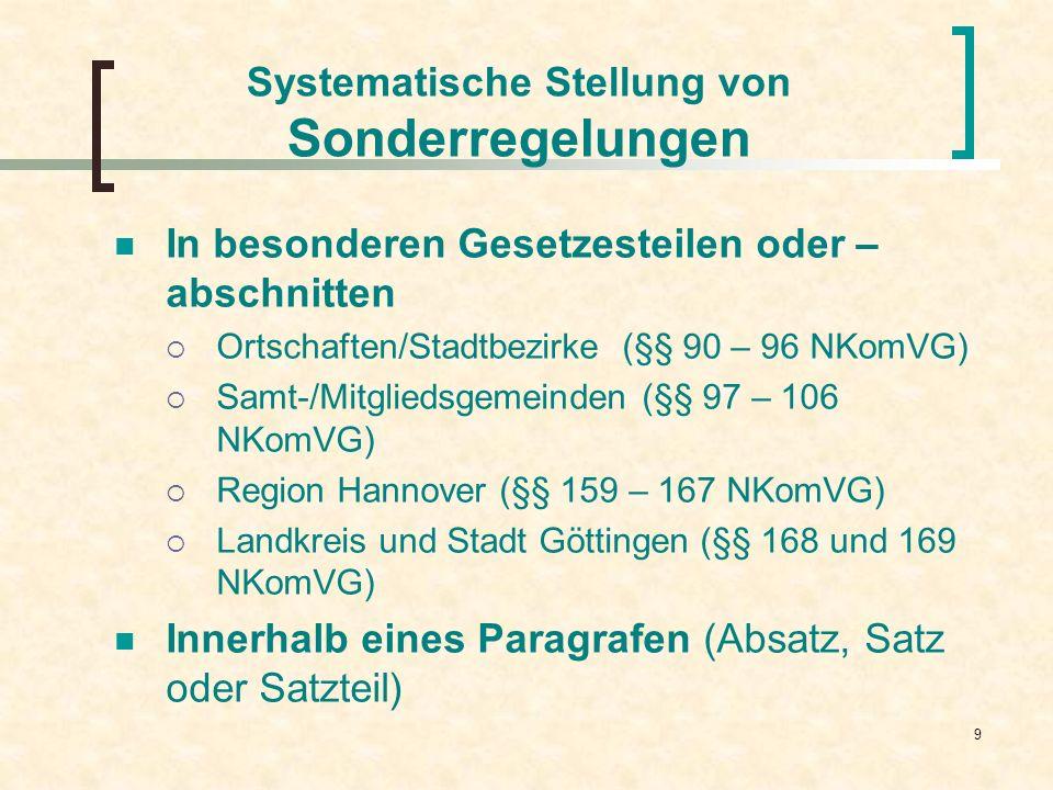 9 Systematische Stellung von Sonderregelungen In besonderen Gesetzesteilen oder – abschnitten Ortschaften/Stadtbezirke (§§ 90 – 96 NKomVG) Samt-/Mitgl
