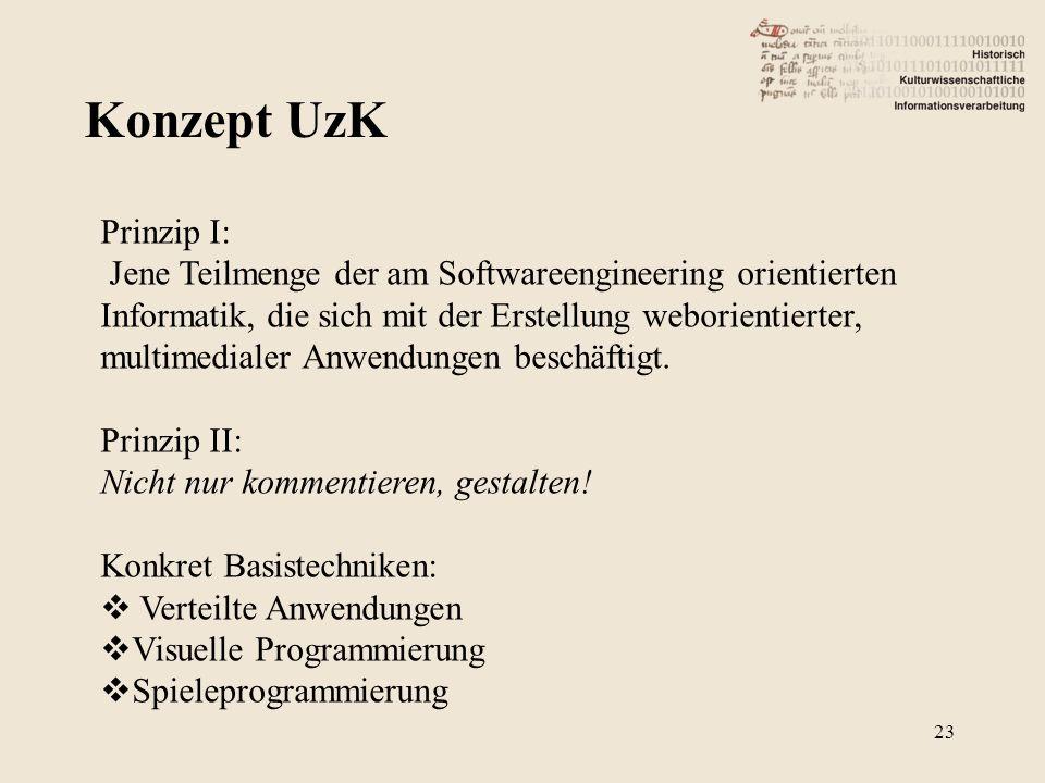 Konzept UzK 23 Prinzip I: Jene Teilmenge der am Softwareengineering orientierten Informatik, die sich mit der Erstellung weborientierter, multimediale