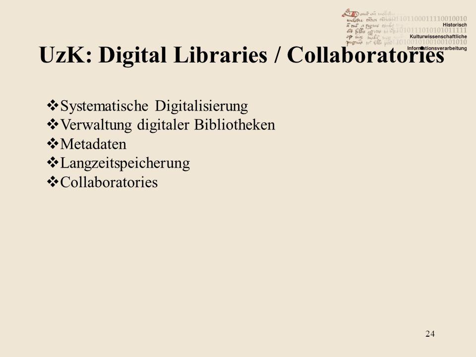 UzK: Digital Libraries / Collaboratories 24 Systematische Digitalisierung Verwaltung digitaler Bibliotheken Metadaten Langzeitspeicherung Collaborator