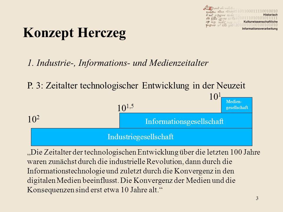Konzept Herczeg 3 1. Industrie-, Informations- und Medienzeitalter P. 3: Zeitalter technologischer Entwicklung in der Neuzeit 10 1 10 1,5 10 2 Die Zei