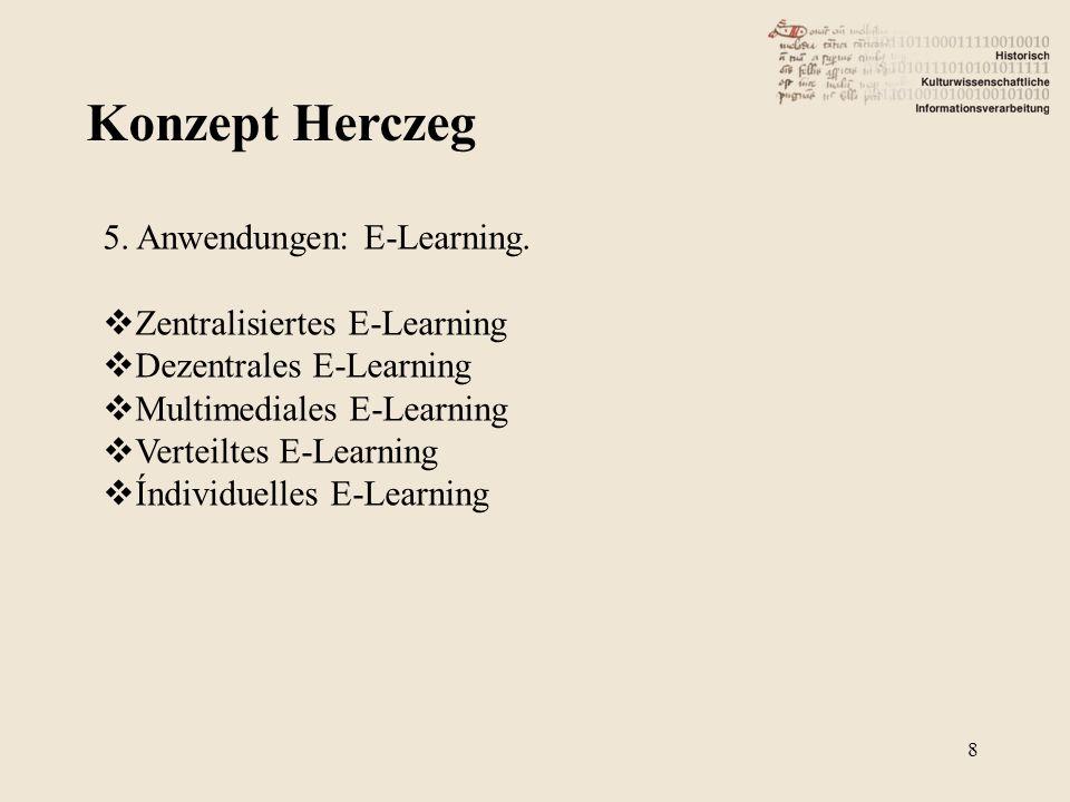 Konzept Herczeg 8 5. Anwendungen: E-Learning. Zentralisiertes E-Learning Dezentrales E-Learning Multimediales E-Learning Verteiltes E-Learning Índivid