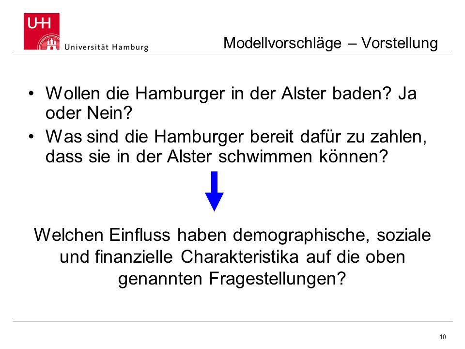 10 Modellvorschläge – Vorstellung Wollen die Hamburger in der Alster baden? Ja oder Nein? Was sind die Hamburger bereit dafür zu zahlen, dass sie in d