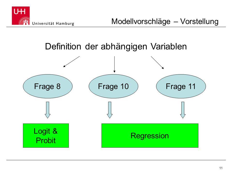 11 Modellvorschläge – Vorstellung Frage 10Frage 8 Definition der abhängigen Variablen Frage 11 Logit & Probit Regression