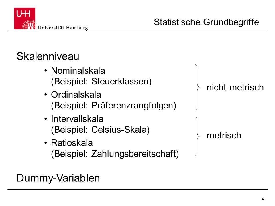 4 Statistische Grundbegriffe Skalenniveau Nominalskala (Beispiel: Steuerklassen) Ordinalskala (Beispiel: Präferenzrangfolgen) Intervallskala (Beispiel