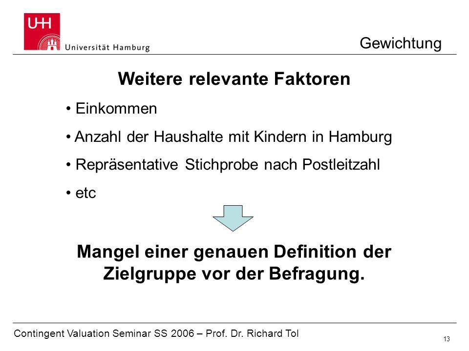 Contingent Valuation Seminar SS 2006 – Prof. Dr. Richard Tol 13 Gewichtung Weitere relevante Faktoren Einkommen Anzahl der Haushalte mit Kindern in Ha
