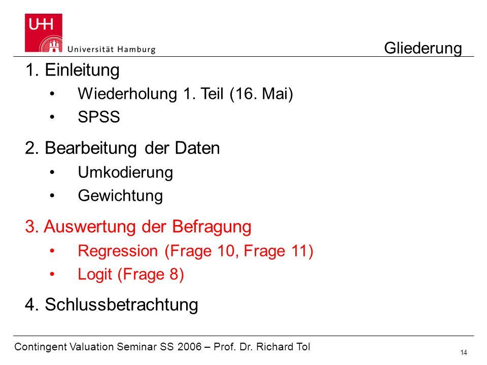 Contingent Valuation Seminar SS 2006 – Prof. Dr. Richard Tol 14 Gliederung 1. Einleitung Wiederholung 1. Teil (16. Mai) SPSS 2. Bearbeitung der Daten