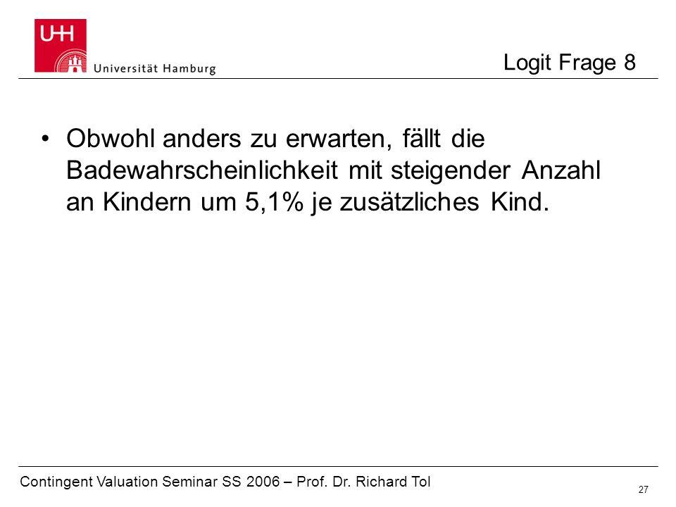 Contingent Valuation Seminar SS 2006 – Prof. Dr. Richard Tol 27 Logit Frage 8 Obwohl anders zu erwarten, fällt die Badewahrscheinlichkeit mit steigend