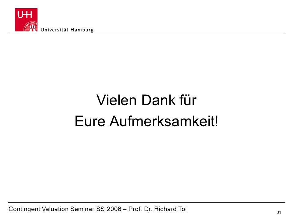 Contingent Valuation Seminar SS 2006 – Prof. Dr. Richard Tol 31 Vielen Dank für Eure Aufmerksamkeit!