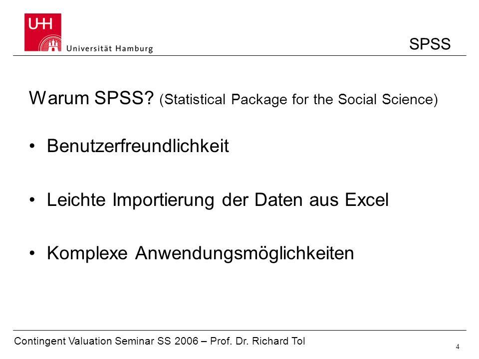 Contingent Valuation Seminar SS 2006 – Prof.Dr. Richard Tol 5 Gliederung 1.