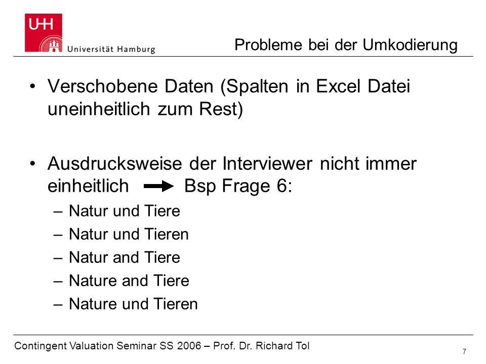 Contingent Valuation Seminar SS 2006 – Prof. Dr. Richard Tol 7 Probleme bei der Umkodierung Verschobene Daten (Spalten in Excel Datei uneinheitlich zu