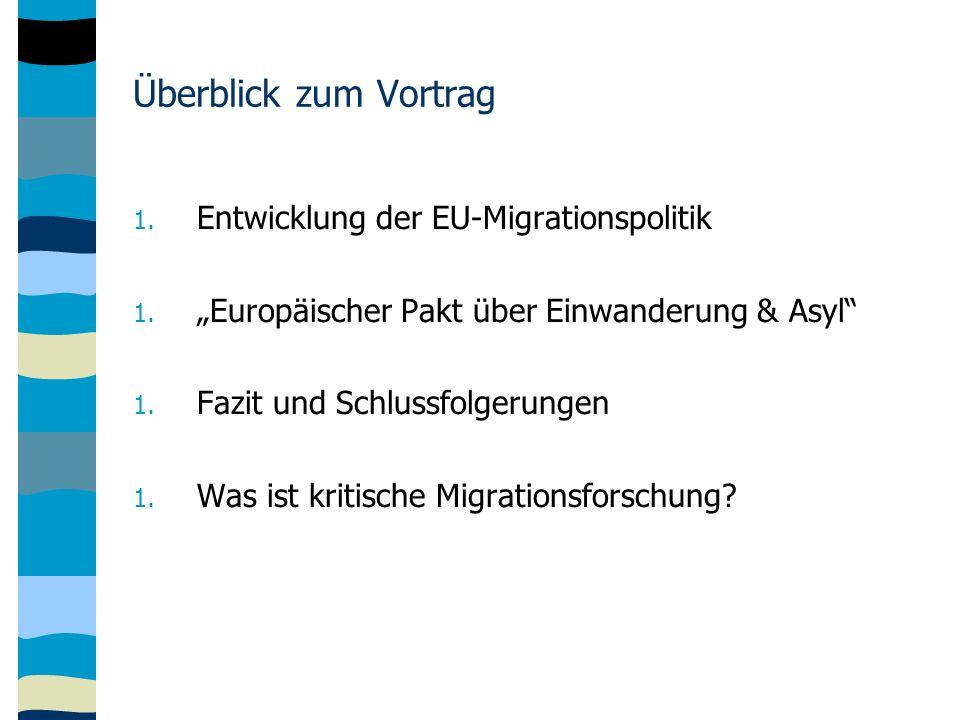 Überblick zum Vortrag 1. Entwicklung der EU-Migrationspolitik 1.