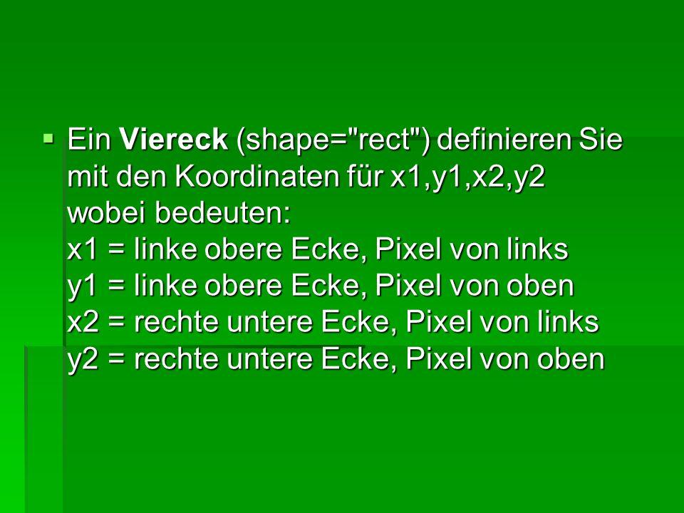Einen Kreis (shape= circle ) definieren Sie mit den Koordinaten für x,y,r wobei bedeuten: x = Mittelpunkt, Pixel von links y = Mittelpunkt, Pixel von oben r = Radius in Pixel Einen Kreis (shape= circle ) definieren Sie mit den Koordinaten für x,y,r wobei bedeuten: x = Mittelpunkt, Pixel von links y = Mittelpunkt, Pixel von oben r = Radius in Pixel