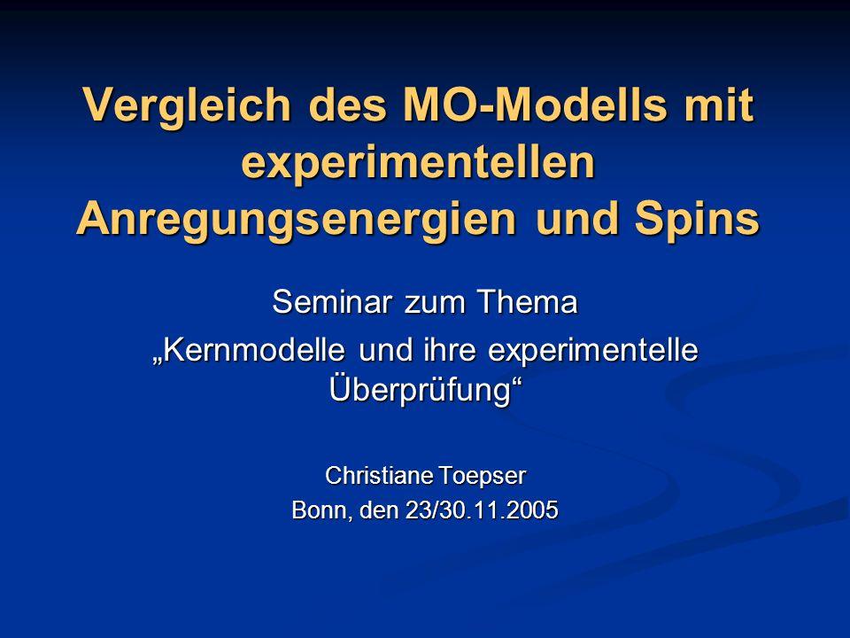 Geltungsbereich des MO-Modells Das MO-Modell gilt zunächst nur für Kerne mit einer Teilchenzahl die um eins größer ist, als eine magische Zahl.