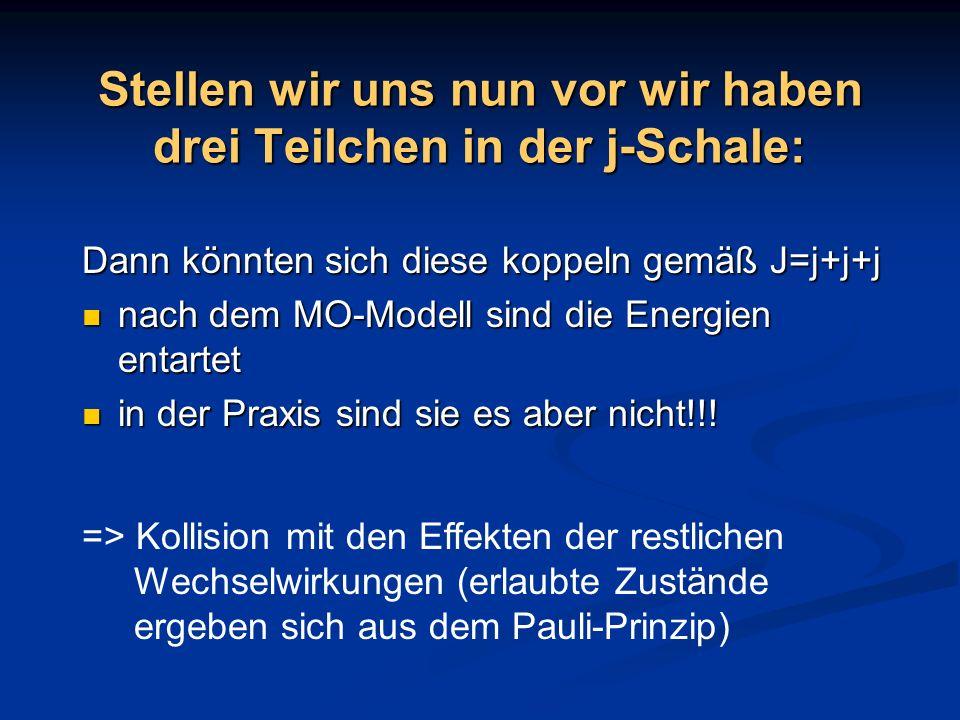 Stellen wir uns nun vor wir haben drei Teilchen in der j-Schale: Dann könnten sich diese koppeln gemäß J=j+j+j nach dem MO-Modell sind die Energien en