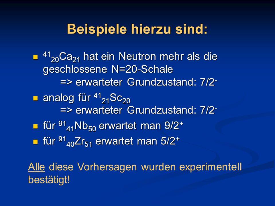 Beispiele hierzu sind: 41 20 Ca 21 hat ein Neutron mehr als die geschlossene N=20-Schale => erwarteter Grundzustand: 7/2 - 41 20 Ca 21 hat ein Neutron