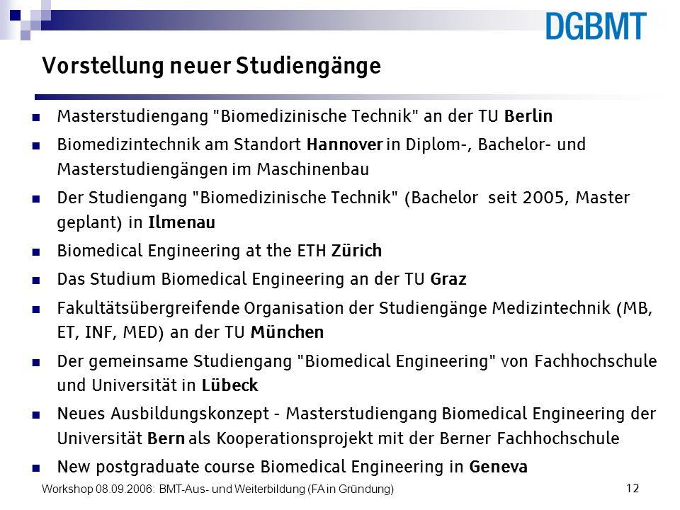 Workshop 08.09.2006: BMT-Aus- und Weiterbildung (FA in Gründung)12 Vorstellung neuer Studiengänge Masterstudiengang
