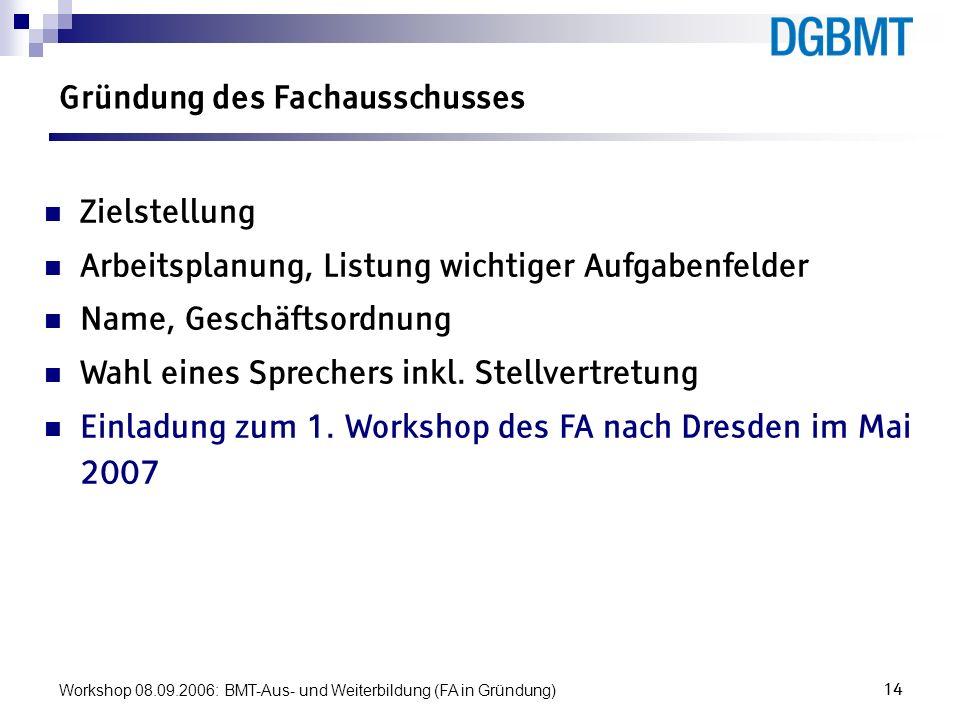 Workshop 08.09.2006: BMT-Aus- und Weiterbildung (FA in Gründung)14 Gründung des Fachausschusses Zielstellung Arbeitsplanung, Listung wichtiger Aufgabe