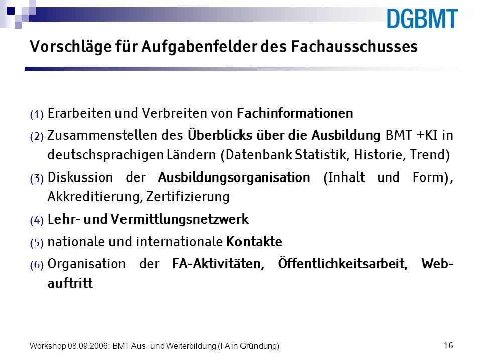 Workshop 08.09.2006: BMT-Aus- und Weiterbildung (FA in Gründung)16 Vorschläge für Aufgabenfelder des Fachausschusses Erarbeiten und Verbreiten von Fac