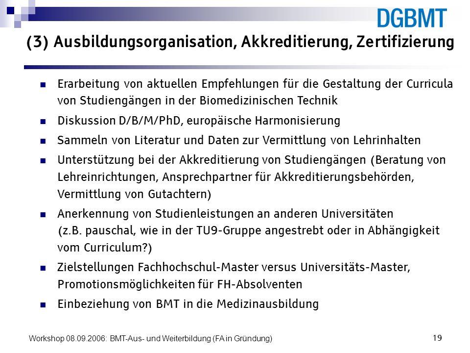 Workshop 08.09.2006: BMT-Aus- und Weiterbildung (FA in Gründung)19 (3) Ausbildungsorganisation, Akkreditierung, Zertifizierung Erarbeitung von aktuell