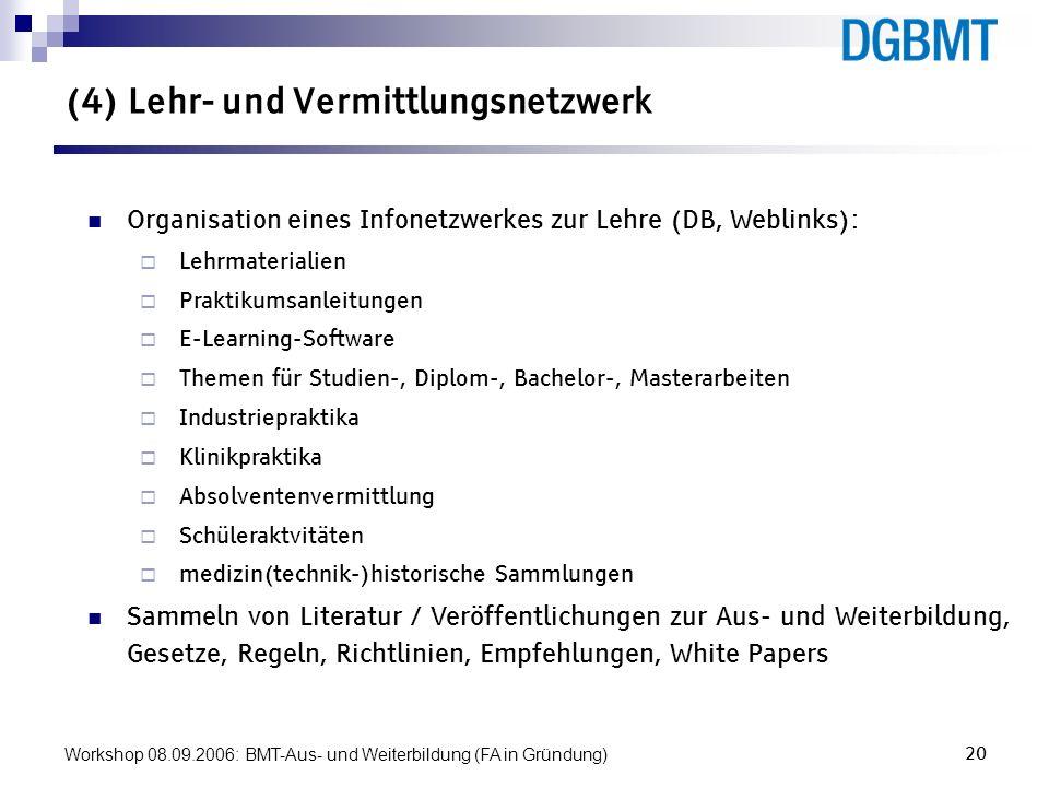 Workshop 08.09.2006: BMT-Aus- und Weiterbildung (FA in Gründung)20 (4) Lehr- und Vermittlungsnetzwerk Organisation eines Infonetzwerkes zur Lehre (DB,