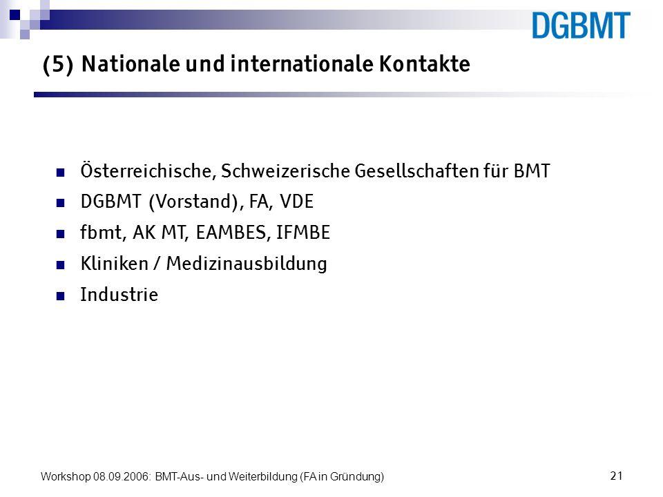 Workshop 08.09.2006: BMT-Aus- und Weiterbildung (FA in Gründung)21 (5) Nationale und internationale Kontakte Österreichische, Schweizerische Gesellsch