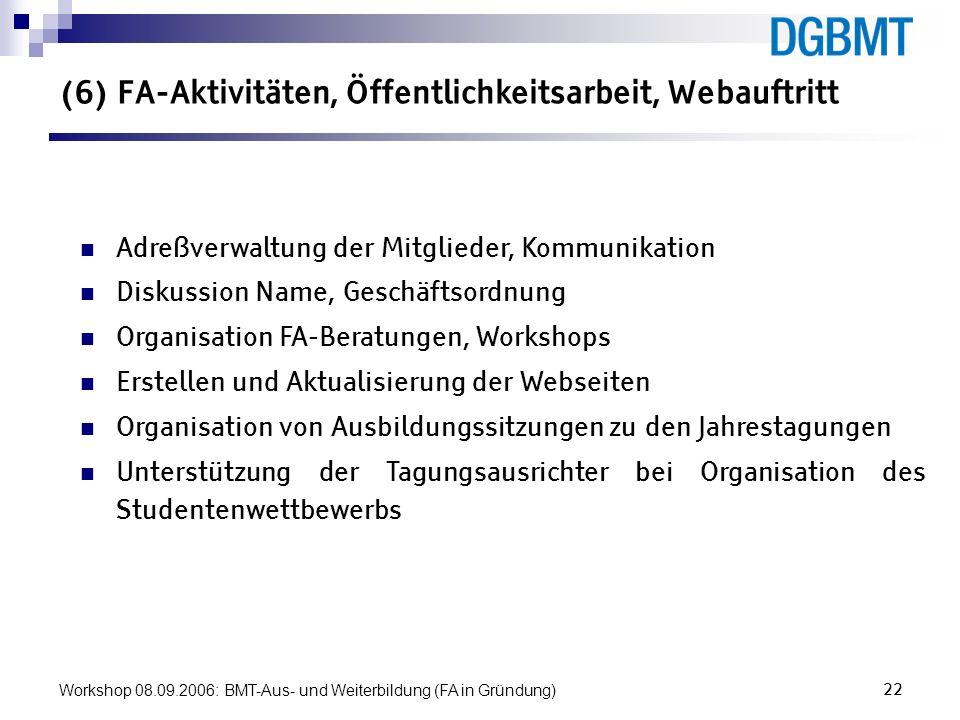 Workshop 08.09.2006: BMT-Aus- und Weiterbildung (FA in Gründung)22 (6) FA-Aktivitäten, Öffentlichkeitsarbeit, Webauftritt Adreßverwaltung der Mitglied