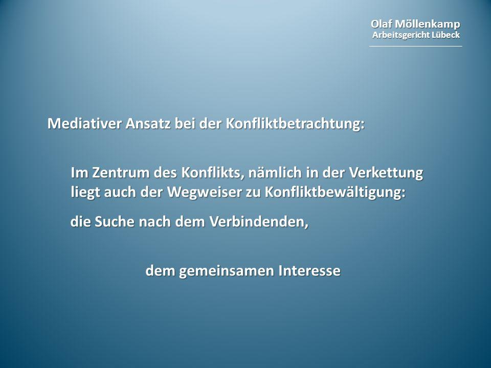 Olaf Möllenkamp Arbeitsgericht Lübeck Mediativer Ansatz bei der Konfliktbetrachtung: Im Zentrum des Konflikts, nämlich in der Verkettung liegt auch de